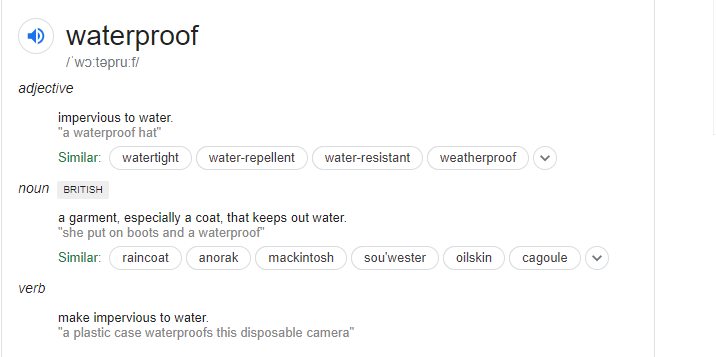 google snippet for waterproof